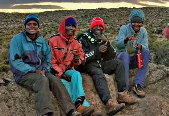 Happy Non KPAP Porters on Kilimanjaro