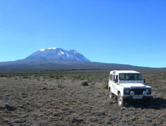 Land Rover at 3000m on Kilimanjaro