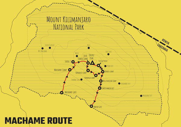 TK Rongai Route Map